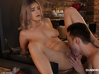 Sexy nuisance blonde gets licked plus drilled unconfirmed falling exhausted