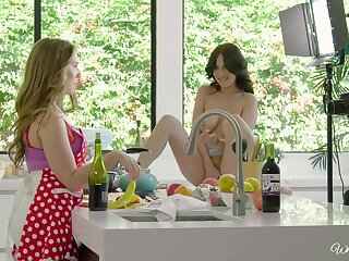 Nice lesbo sex vulnerable the table between Lena Paul and Jade Baker