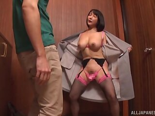 Horny younger man undressed a Japanese mature to pleasure her
