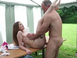 Youthfull nubile entices and tears up aged fellow then facial cumshot pop-shot