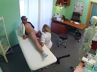 Ill-tempered Blonde Be enamoured of Gets Doctor's Attention And His Cum