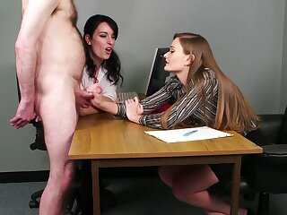 Hot CFNM at along to office for two slutty babes