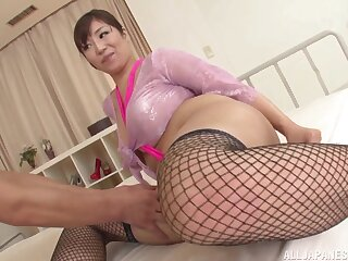 Sucking a delicious horseshit pleases this horny Japanese spread out the paramount