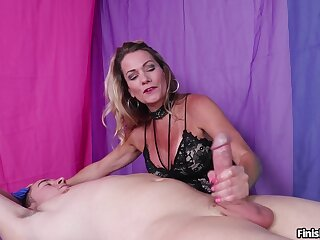 Aroused mature offers younger man A number handjob