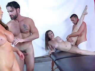 Twosome hot babes get rammed unconnected with their well endowed masseurs